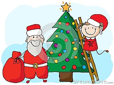 Decorating the christmas tree