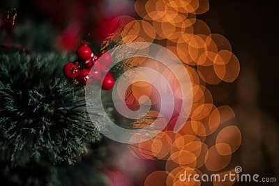 Decorating christmas tree at home. Ornament close up on background of christmas tree with colorful lights and toys, copy space for Stock Photo