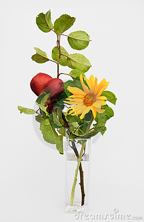 Decoration with apples and sunflower