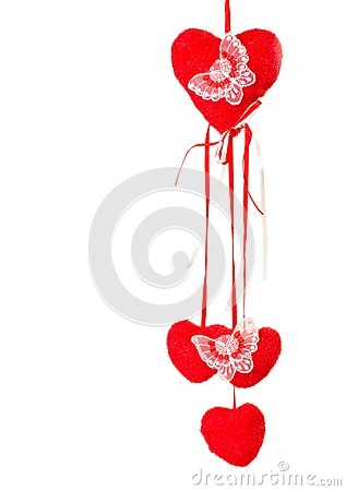 Decoration with butterflies and valentines