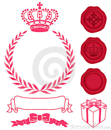 Decoration of crown, wreath and sealing wax.