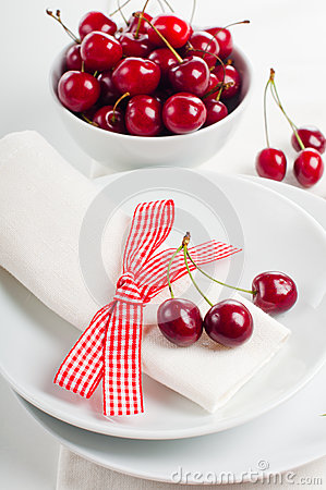 Decoration With Fresh Flowers And Sweet Cherry Stock Photography - Image: 25431042
