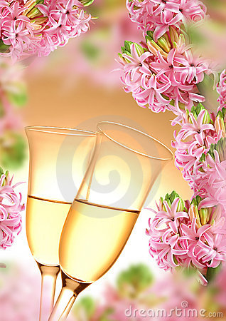 Free Decoration From Hyacinth And Champagne Flutes Stock Images - 22186514