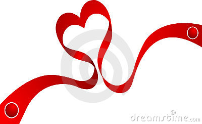 Decoration ribbon curled in heart