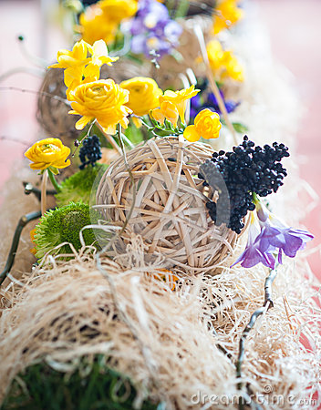 Yellow floral arrangements and decorations