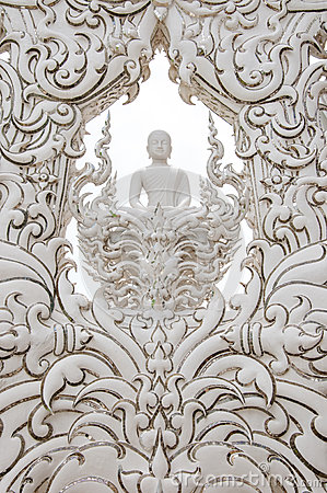 Decoration with white buddha statue