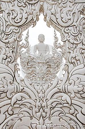 Decoration with white buddha statue