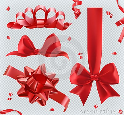 Decorations. Red bows. set of vector icons Vector Illustration