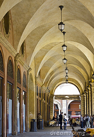 Decorative arcades on the streets in Bologna Editorial Image