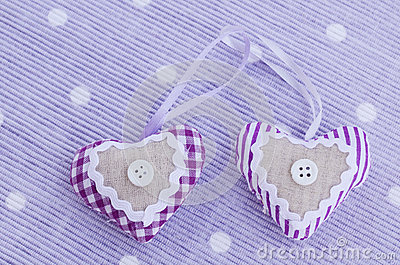 Decorative aroma hearts on lavender background