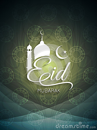 Decorative artistic Eid mubarak card design.