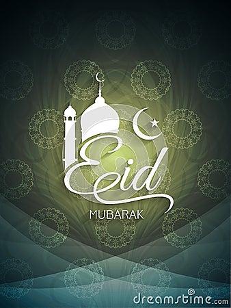 Decorative artistic Eid mubarak card design.