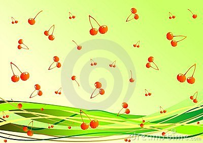Decorative background with berries on the backgrou