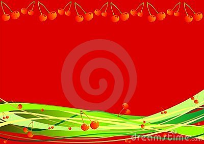 Decorative background with berries and stripes