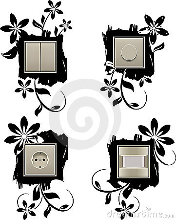 Decorative background for wall outlet and switcher
