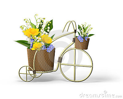 Decorative bicycle with spring flowers
