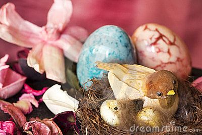 Decorative bird over easter background