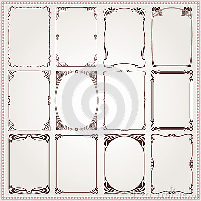 Free Decorative Borders And Frames Art Nouveau Style Vector Royalty Free Stock Photo - 40224625