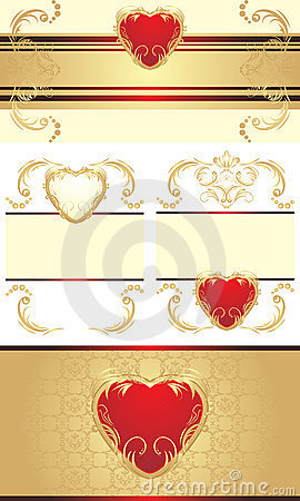 Decorative borders with hearts for festive cards