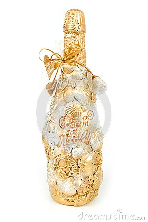 Decorative bottle of champagne