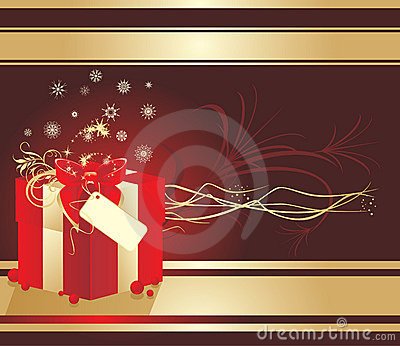 Decorative box with snowflakes and red bow. Card