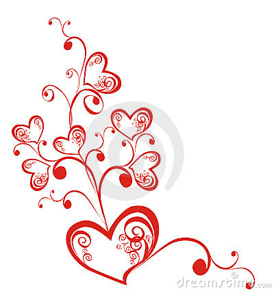 Decorative branch with hearts. Vector illustration