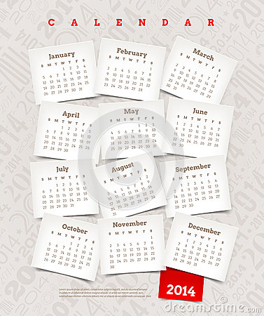Free Decorative Calendar Of 2014 Stock Image - 33125281