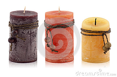 Decorative candles on a white background