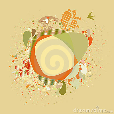 Decorative card with autumn tree and birds. EPS 8