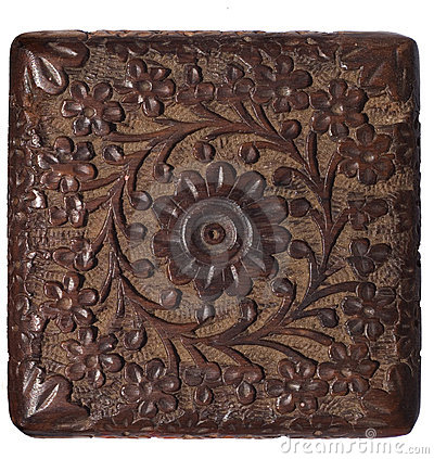 Decorative carved wood panel isolated