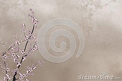 Decorative cherry tree on rough background wi