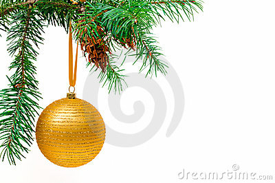 Decorative Christmas ball on the Christmas tree.