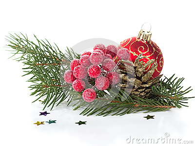 Decorative christmas composition on white