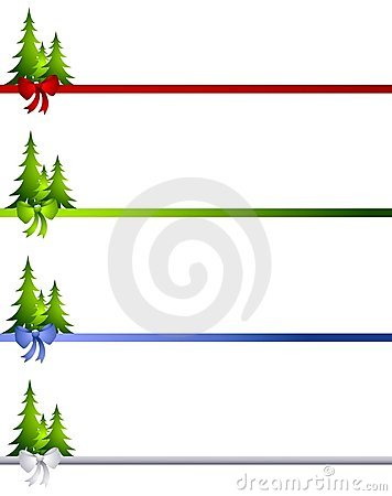Decorative Christmas Tree Bow Borders