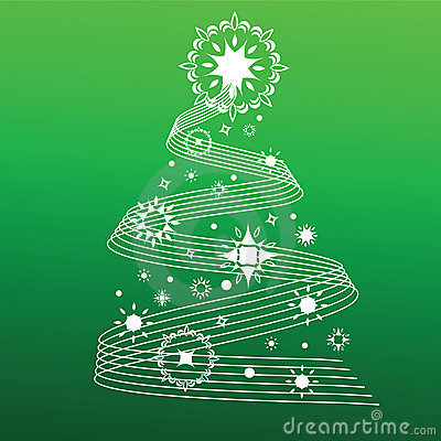 Decorative christmas tree lines and snowflakes