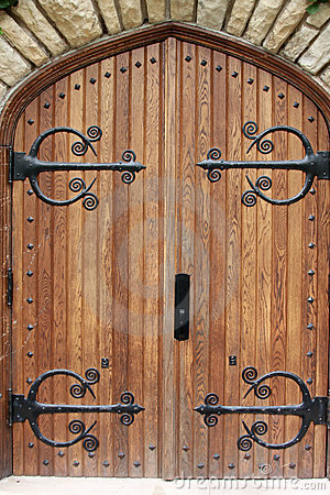 Decorative Church Door With Iron Hinges Stock Photos