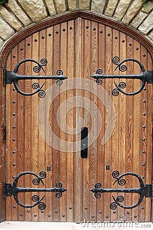 Decorative Church Door With Iron Hinges Stock Photos