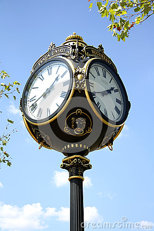 Decorative clock in Bucharest, Romania Editorial Stock Photo