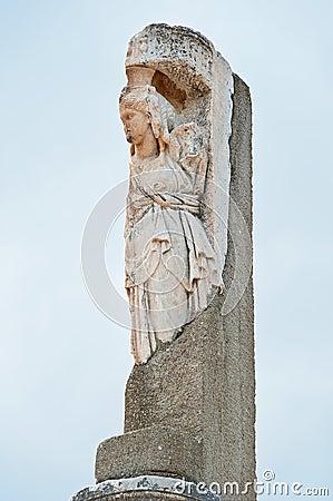 Decorative column in Ephesus, Turkey