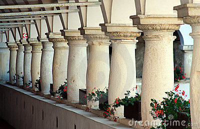 Decorative columns in castle