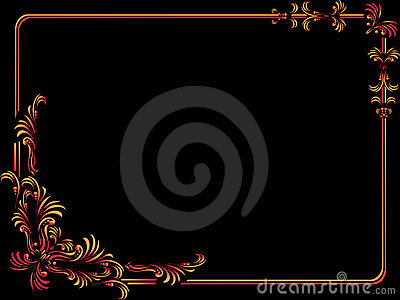 decorative corners & border on black background