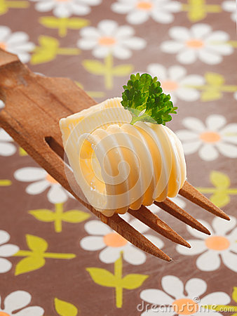 Decorative curl of rolled butter