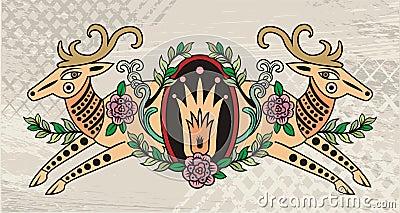Decorative deer emblem