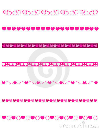 Set of decorative divider/ borders for valentines day / love themed ...
