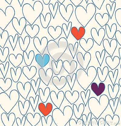 Decorative doodle background with hearts