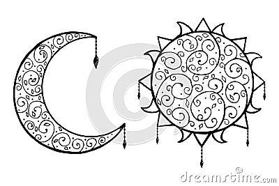 Stock De Ilustracin Cartel Blanco Y Negro De La Luna Y De La Estrella En El Fondo Blanco Ramadan Kareem Image55333050 likewise M C3 A4nner R C3 BCcken Tattoos furthermore Tribal Sleeve Tattoos furthermore Hand Drawn New Moon Star Anti 370494404 additionally Lotus Mandala Design. on star moon tribal stock vector