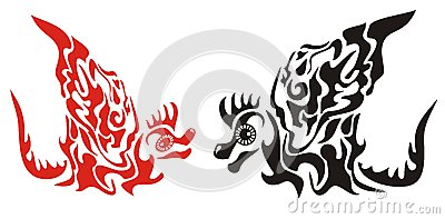 Decorative dragons with a wing in tribal style