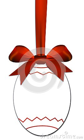 Free Decorative Egg With Red Bow As A Easter Price Tag Royalty Free Stock Photos - 36665898