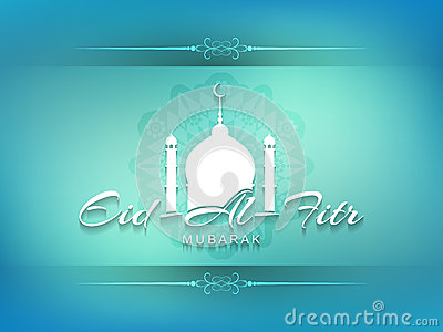 Decorative Eid Al Fitr mubarak card design.