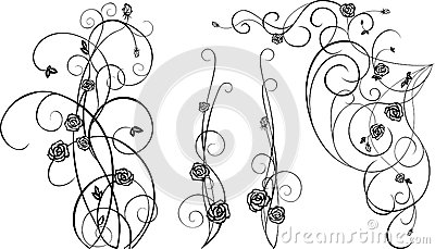 Decorative  elements with black roses